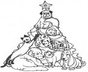 Printable christmas tree and dogs23ef coloring pages