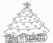 Printable christmas tree and present coloring pages