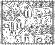 adult christmas house candy coloring pages