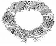 Printable Christmas adult wreath coloring pages