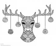 Printable hand drawn deer head christmas coloring pages