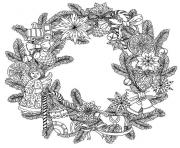 printable adult christmas wreath by mashabr coloring pages