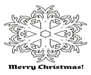 Print Merry Christmas Snow Flakes coloring pages
