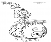 Printable DJ Suki of trolls movie coloring pages