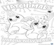 Printable Hatchimals happy newyear 2017 hatchy coloring pages