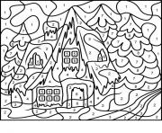 Print color by number adults house free coloring pages