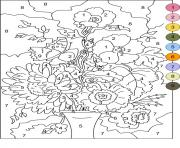 Print color by number for adults flowers coloring pages