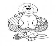 dog in a basket with blanket 5674