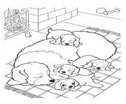 The Mother Dog With Pups puppy coloring pages