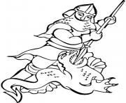 Print knight and dragon coloring pages