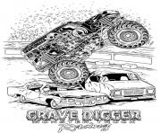 Print grave digger hot monster truck coloring pages