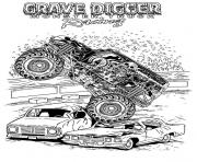 Printable grave digger monster truck racing coloring pages