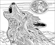 Printable wolf for adult  coloring pages