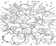 Printable eeveelution eevee evolutions coloring pages
