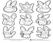 Printable pokemon eevee evolutions list coloring pages