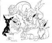 Printable Pokemon Eevee Evolutions coloring pages