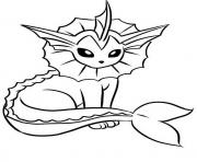 Printable vaporeon eevee pokemon evolutions coloring pages