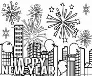 Printable New Year Fireworks coloring pages