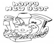 A Cute Little Train Says Happy New Year Coloring Page coloring pages