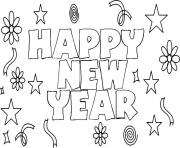 Printable Happy New Year 3 coloring pages