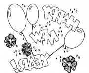 Celebrate New Year Eve With Three Balloons Coloring Page coloring pages
