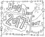 Print Happy New Year 2017 coloring pages