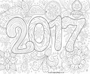 Print doodle adult new year 2017 coloring pages
