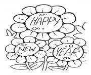 Print Flower Wishing Happy New year printable 2017 coloring pages