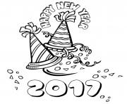 Print Happy New Year 2017 2 coloring pages