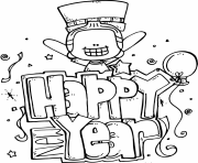 Print Happy New year printable 2017 coloring pages