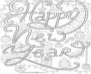 Print happy new year adult coloring pages