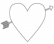 Printable heart with an arrow emoji coloring pages