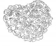 Printable heart of roses valentine s9eb3 coloring pages