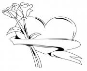 heart with roses valentines s516b coloring pages