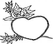 rose and heart valentines s5874 coloring pages