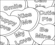 smile kiss me be mine valentines words coloring pages