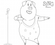 Sing Coloring Page Dancing Pig coloring pages