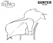 Sing Coloring Pages Pig Gunter coloring pages