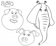Animals from Sing Animation Coloring coloring pages