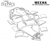 Sing Movie Coloring Pages Elephant Meena