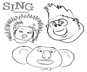 Animals from Sing The Movie coloring pages