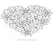 Printable Valentine Heart Flowers coloring pages