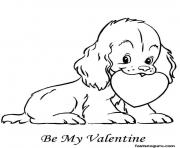 Printable Valentine Heart Puppy Be My Valentine coloring pages