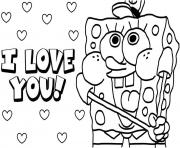 Printable sponge bob i love you Valentine day coloring pages