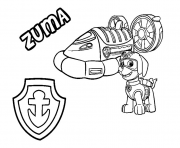 Printable PAW Patrol Zuma s Hovercraft Vehicle coloring pages
