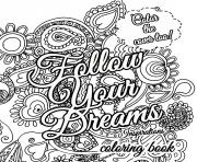 Printable Quote about dream for adults coloring pages