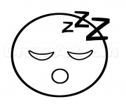 Printable emoji sleep sleepy face coloring pages