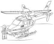 Print lego police helicopter coloring pages