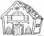 Print Christmas Gingerbread House Printable coloring pages