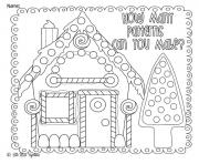 Printable Christmas Coloring Gingerbread House Pattern coloring pages